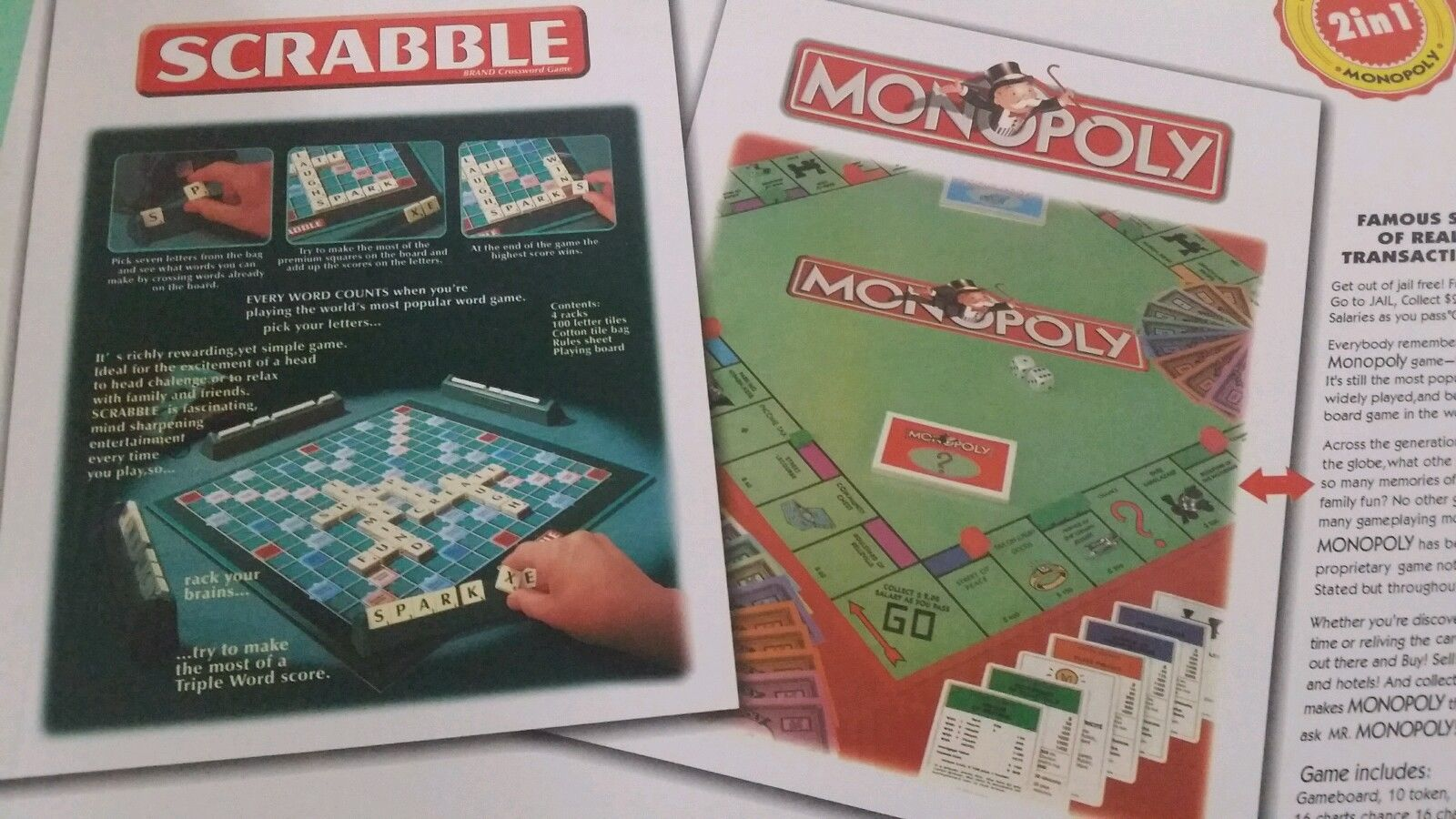 Monopoly And Scrabble Board Game 2 In 1